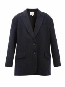 Tibi - Liam Oversized Single-breasted Wool-blend Blazer - Womens - Navy