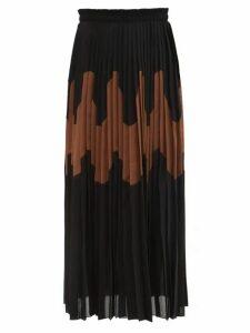 Jil Sander - Panelled Pleated Cotton-blend Skirt - Womens - Black Brown
