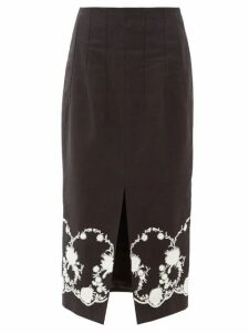 Brock Collection - Floral-embroidered Twill Midi Skirt - Womens - Black