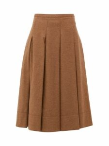 Connolly - Pleated Twill Midi Skirt - Womens - Camel