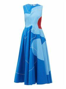 Roksanda - Flora Abstract Colour-block Cotton-poplin Dress - Womens - Blue Print