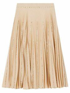 Burberry Crystal Detail Plissé Soleil Stretch Cady Skirt - NEUTRALS
