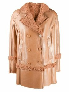Drome shearling button-up coat - Brown