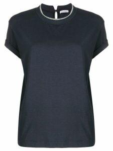 Brunello Cucinelli brass-embellished crew-neck T-shirt - Blue