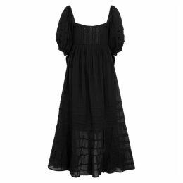 Free People Let's Be Friends Black Gauze Midi Dress