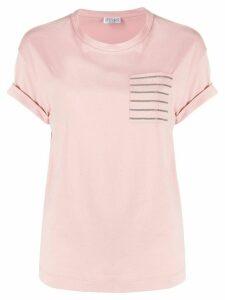 Brunello Cucinelli patch-pocket beaded T-shirt - PINK