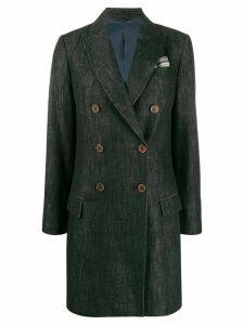 Brunello Cucinelli double buttoned denim coat - Blue