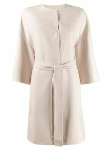 Agnona cropped sleeve belted coat - Neutrals