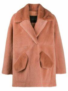 Blancha oversized shearling coat - PINK