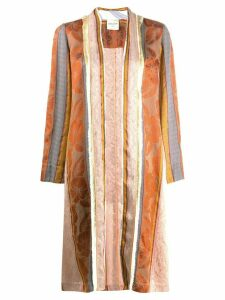 Forte Forte striped patchwork design coat - Brown