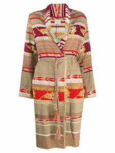 Forte Forte patchwork design belted coat - NEUTRALS