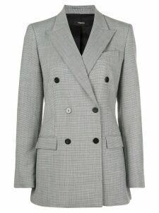 Theory double-breasted micro-pattern blazer - Grey