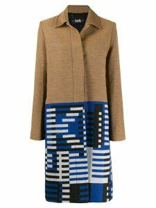 Karl Lagerfeld jacquard pattern coat - NEUTRALS