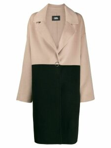 Karl Lagerfeld branded colour block coat - NEUTRALS
