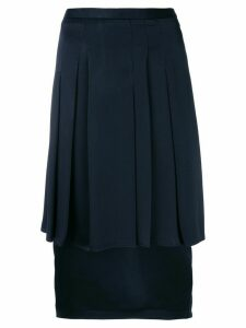 Chalayan pleated-layer pencil skirt - Blue