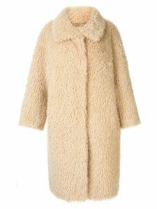 Le Ciel Bleu oversized faux-fur coat - Brown