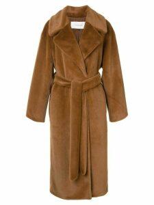 Le Ciel Bleu faux-fur robe coat - Brown