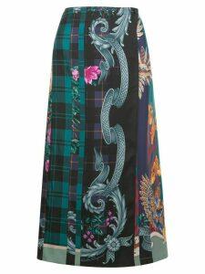Salvatore Ferragamo mixed print straight skirt - Blue