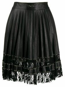Philipp Plein pleated lace skirt - Black