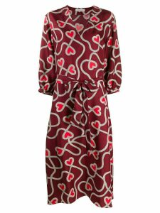 Chinti & Parker heart-print silk belted dress - Red