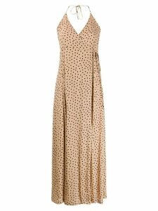 Ganni printed spaghetti strap dress - NEUTRALS