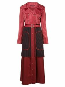 Sies Marjan pinstriped long trench coat - Red