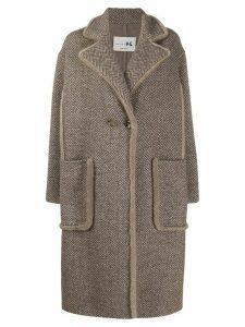 Manzoni 24 chevron single breasted coat - Brown