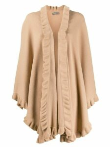 N.Peal frill trim cape - NEUTRALS