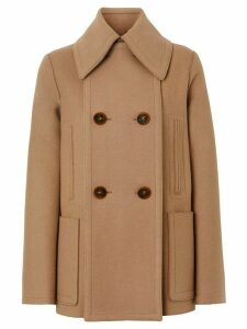 Burberry button panel detail wool cashmere pea coat - NEUTRALS