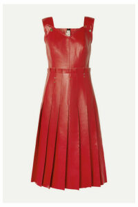 Marni - Pleated Embellished Faux Leather Dress - Red