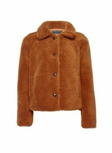 Womens **Only Brown Teddy Coat, Brown