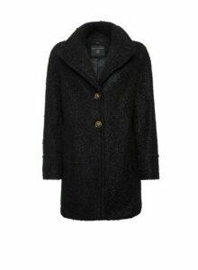 Womens Black Button Front Boucle Coat, Black