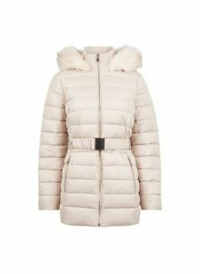 Womens Champagne Jaquard Short Padded Coat, Champagne