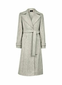 Womens Cream Herringbone Wrap Coat, Cream