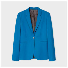 A Suit To Travel In - Women's Blue One-Button Wool Blazer