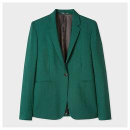 Women's Dark Green One-Button Wool-Mohair Blazer