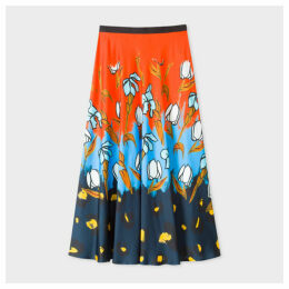 Women's 'Painted Floral' Print Midi Skirt