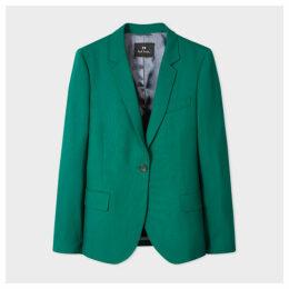 Women's Emerald Green Wool-Hopsack Blazer