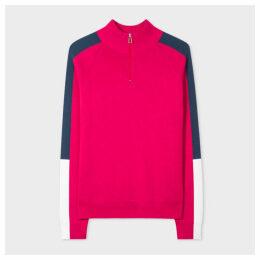 Women's Raspberry Ribbed Cotton Half-Zip Sweater