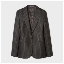 Women's Charcoal Pinstripe Two-Button Wool-Blend Flannel Blazer