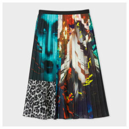 Women's Patchwork 'New Masters' Print Pleated Midi Skirt