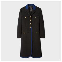 Women's Black Wool-Blend Long-Line Coat With Indigo Detail