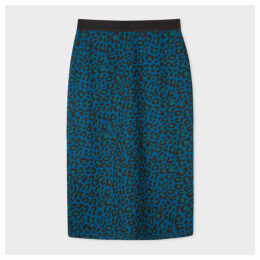 Women's Petrol Blue 'Leopard' Pencil Skirt
