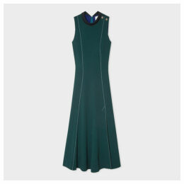 Women's Teal Panelled Dress With Button Shoulder Detail