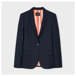 Women's Navy Pin Dot And Stripe Wool-Blend Blazer