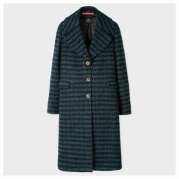 Women's Navy And Teal Stripe Wool And Alpaca-Blend Coat