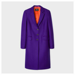 Women's Purple Wool And Cashmere-Blend Three-Button Epsom Coat