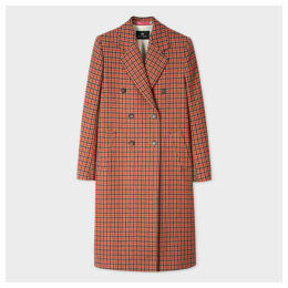 Women's Camel And Orange Dogtooth Motif Double-Breasted Wool-Blend Coat
