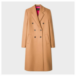 Women's Camel Double-Breasted Wool-Cashmere Coat