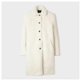 Women's Cream Teddy Bear Cocoon Coat